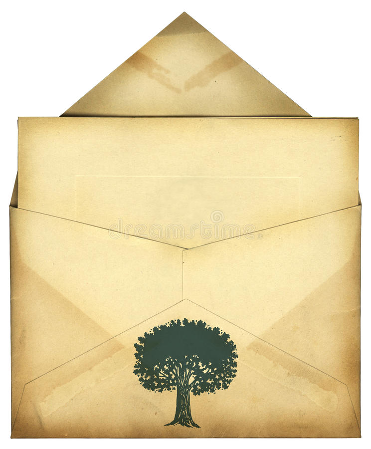 Vintage Envelope. An isolated vintage envelope with a tree icon royalty free stock images