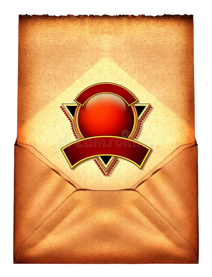 Vintage Envelope. A vintage open envelope with a red ball icon stock illustration