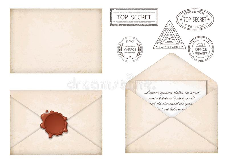Vintage envelope. Letter with wax seal and stamps royalty free illustration