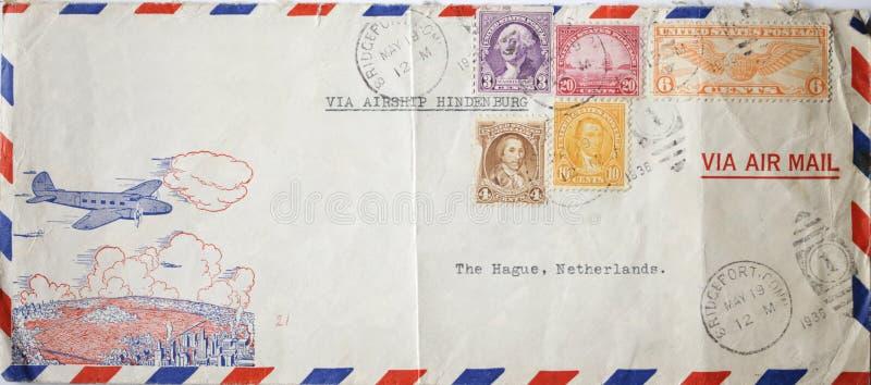 Vintage envelope sent with Hindenburg stock photo