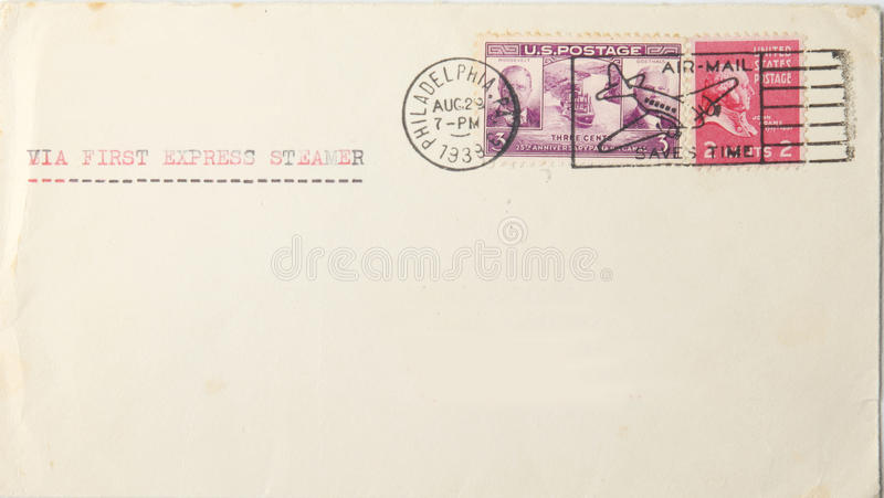 Vintage envelope from usa to europe in 1939 stock images