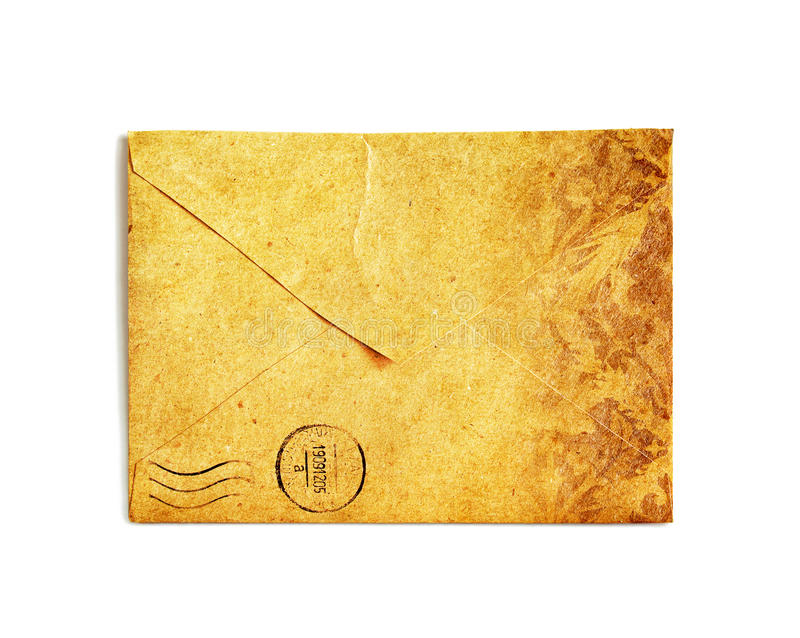 Vintage envelope on white stock images