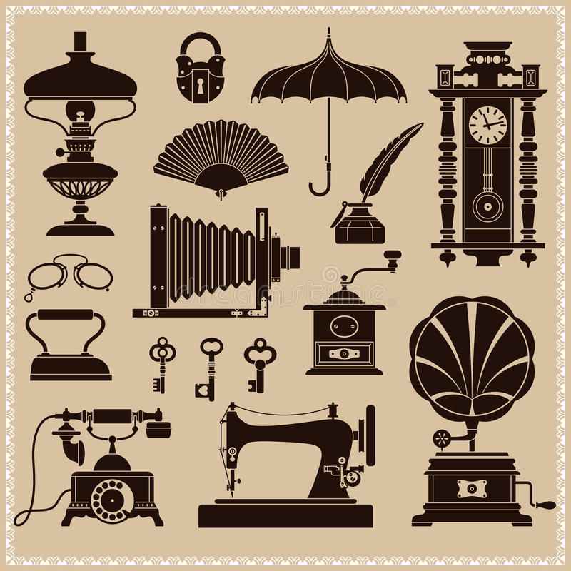 Vintage Ephemera And Objects Of Old Era vector illustration