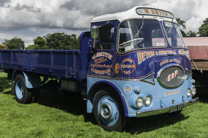 A vintage ERF truck at an English village show royalty free stock image