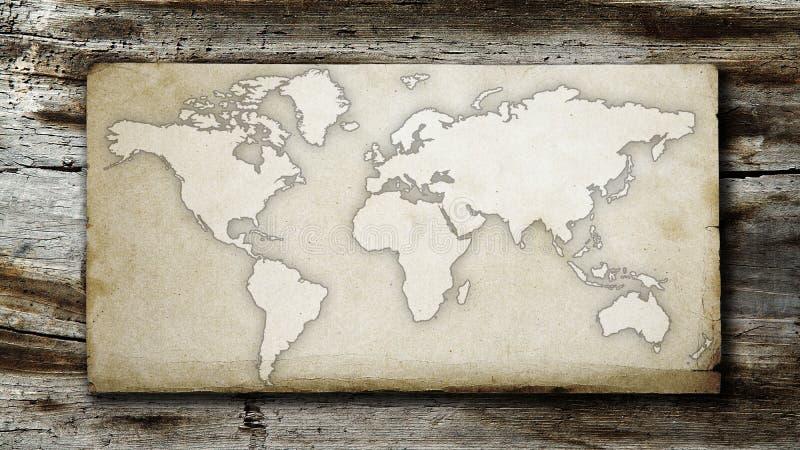 Vintage et carte sale du monde sur le papier image libre de droits