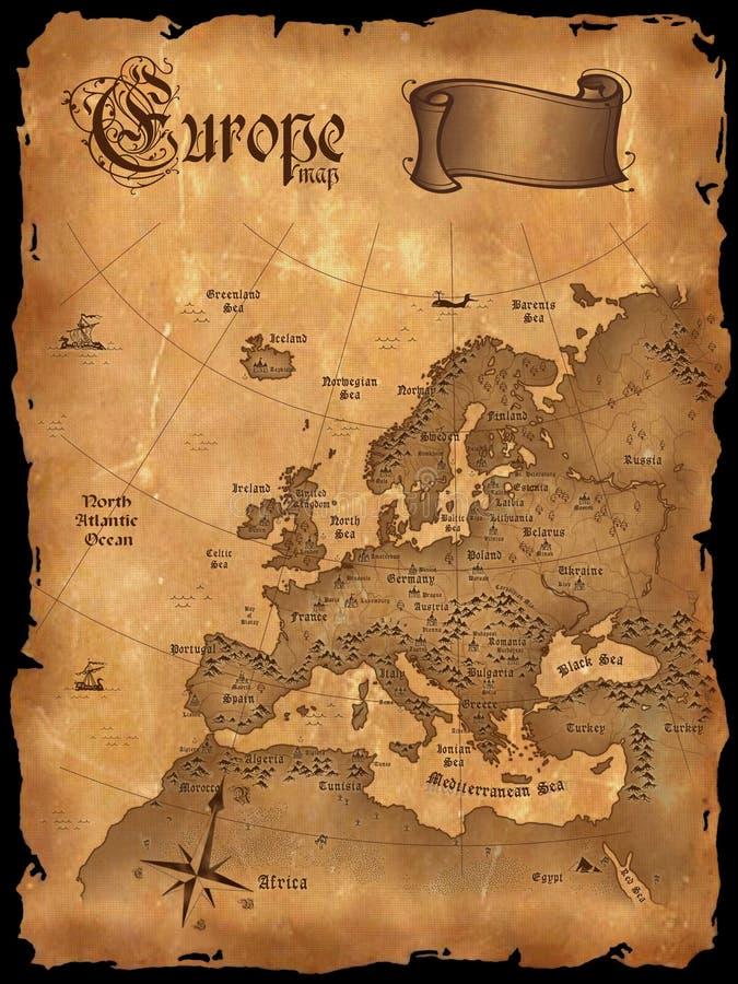 Download Vintage Europe Map Vertical Stock Illustration - Image: 9046464