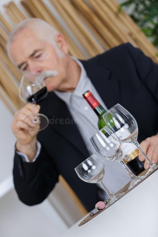 Vintage experto de la prueba del vino fotos de archivo libres de regalías