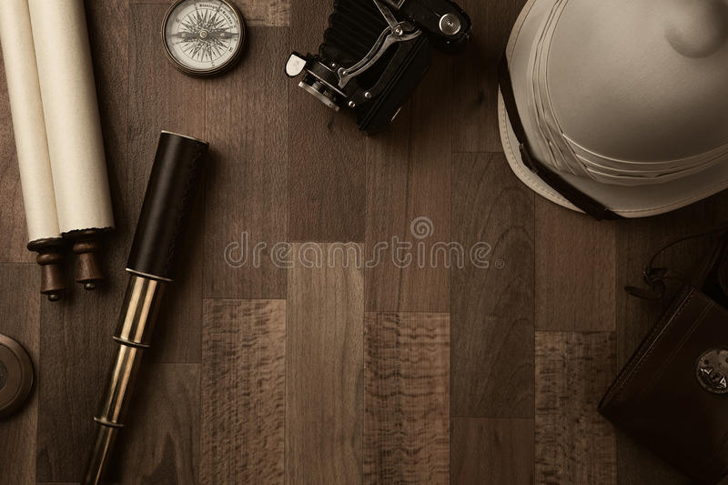 Vintage explorer equipment stock photos