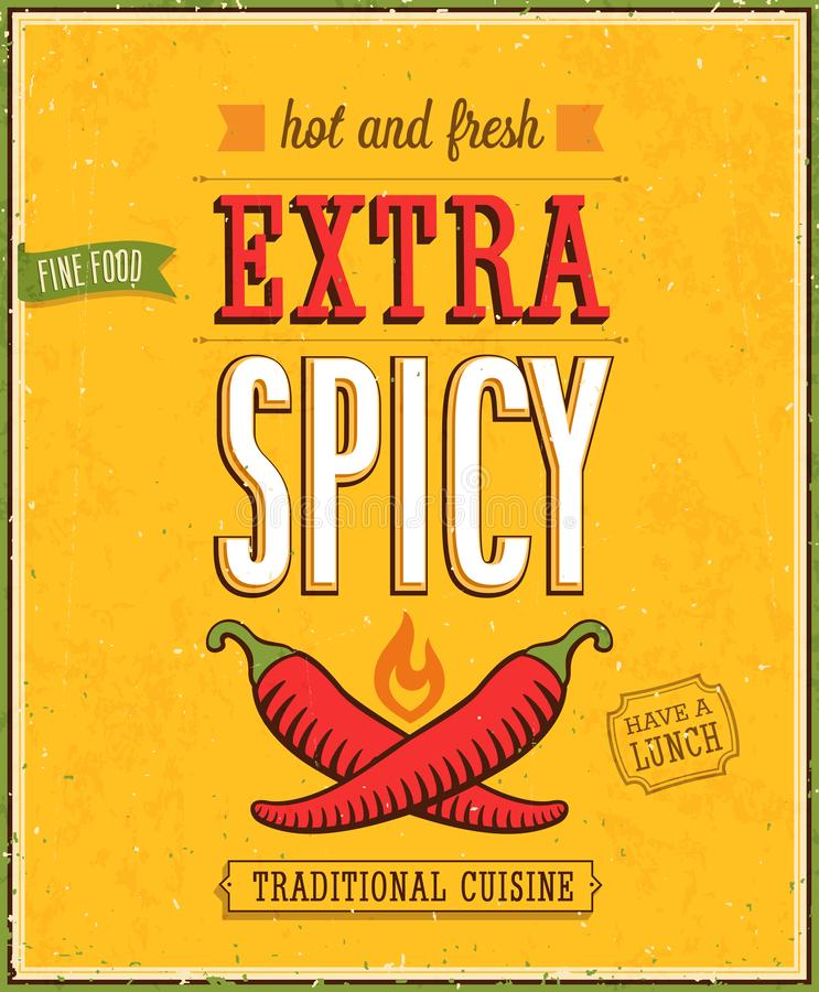 Vintage Extra Spicy Poster. Vector illustration stock illustration