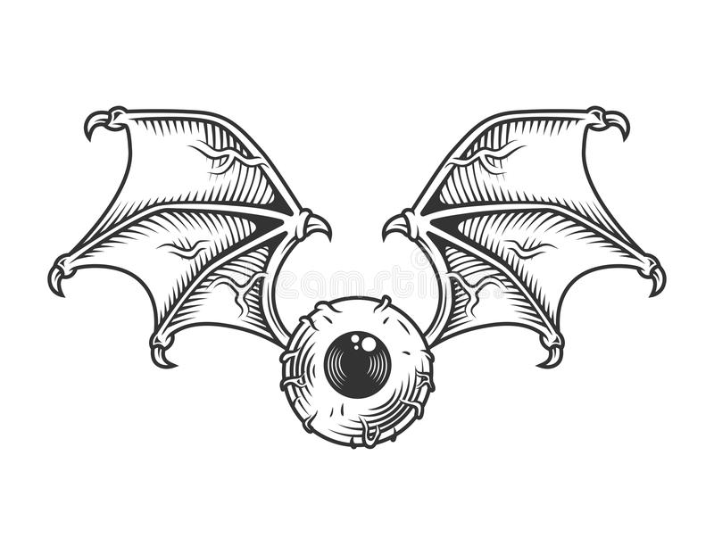 Vintage eye with wings concept. In monochrome style isolated vector illustration royalty free illustration