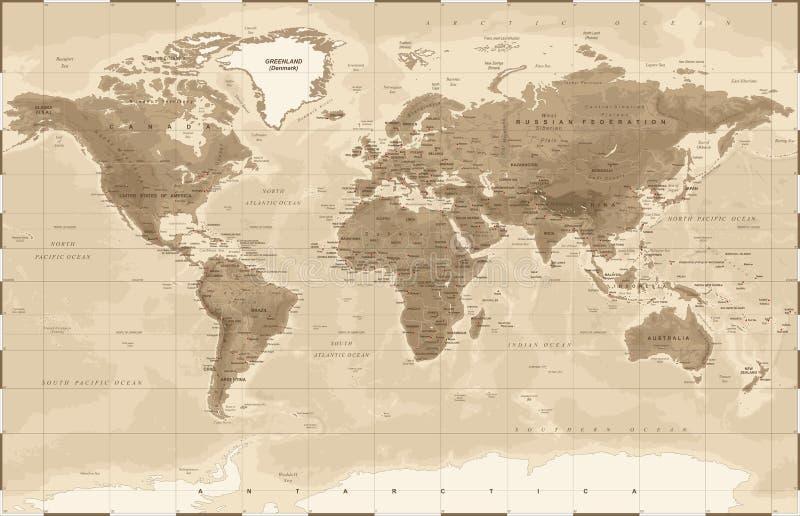 Vintage físico del mapa del mundo - libre illustration