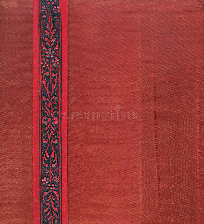 Download Vintage Fabric Inside Book Cover In Red Stock Photo - Image: 5747588