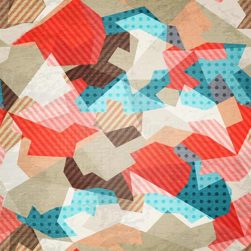 Vintage fabric seamless pattern with grunge effect vector illustration