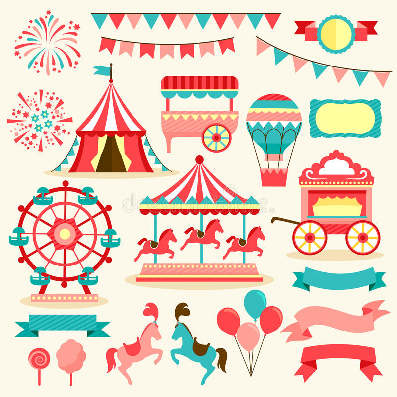 Vintage fair collection. Collection of elements related to fair and circus vector illustration