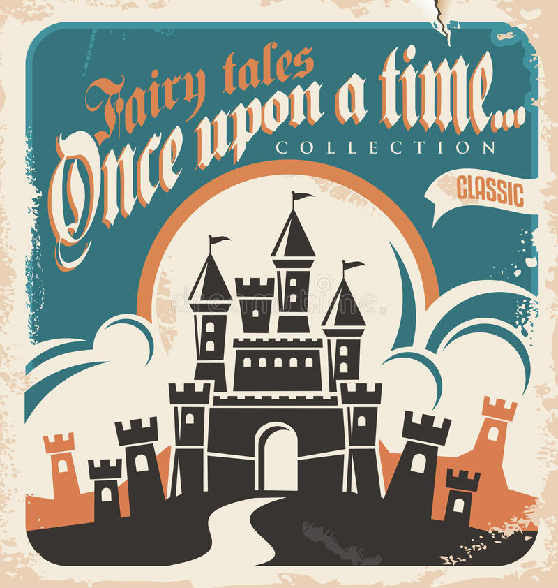 Vintage fairy tales book cover with image of castle. Vintage fairy tales vector poster design. Retro castle illustration