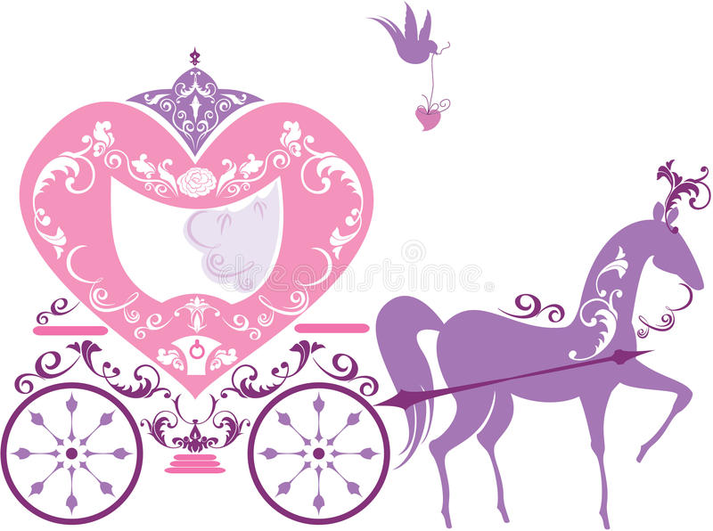 Vintage fairytale horse carriage isolated royalty free illustration