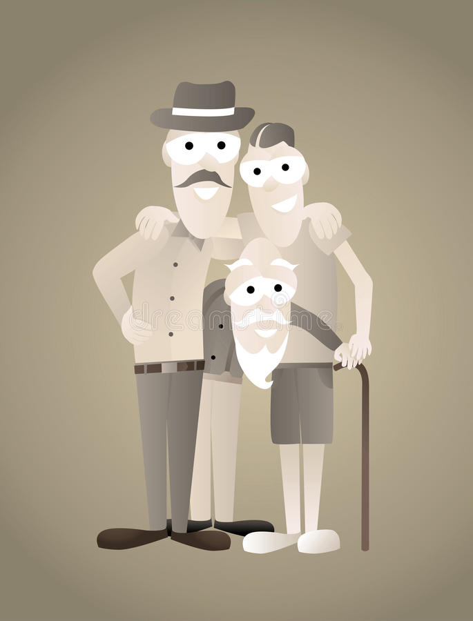Download Vintage Family Picture Of Three Generations Stock Illustration - Image: 30869013