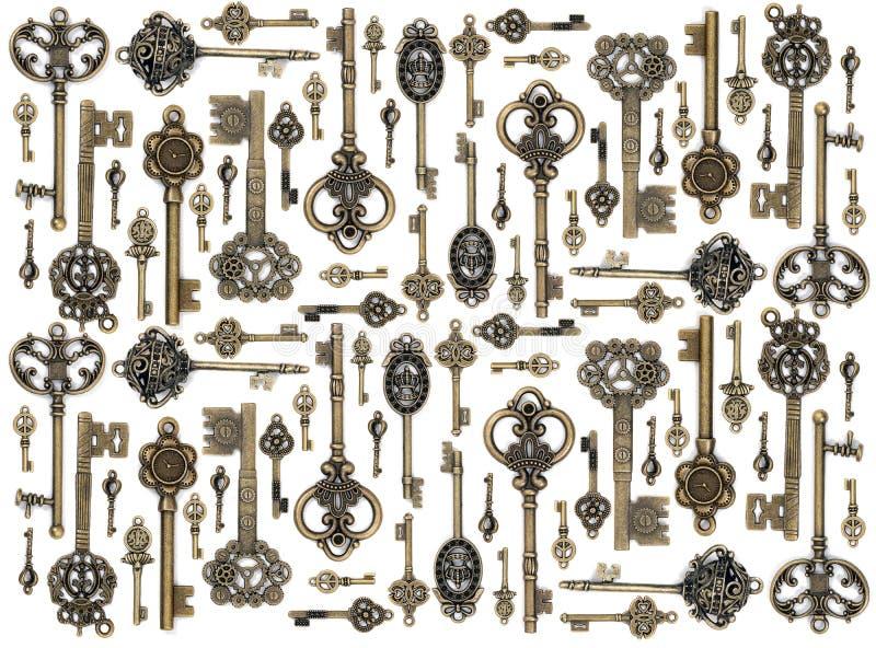vintage fantasy detailed golden keys stock image