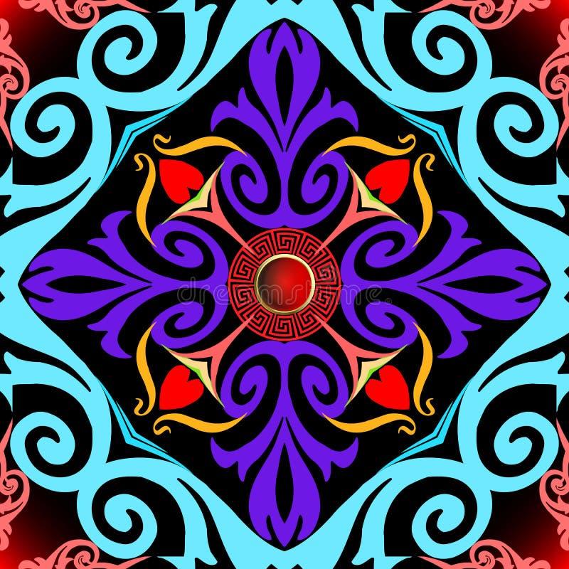 Vintage farbige griechische Vektor nahtlose Muster Zierfarbene Blüte Damast Hintergrund Dekoration mit 3D-roten Tasten vektor abbildung