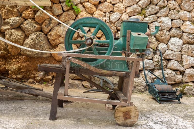 Vintage farm equipment. Old agricultural machinery farm equipment stock photo
