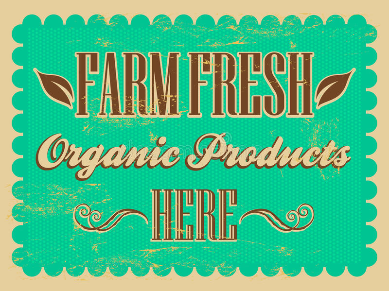 Vintage Farm Fresh - organic products Poster vector illustration