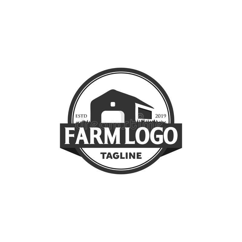 Farm House Outline Logo . Vector Line Emblem. Stock Vector