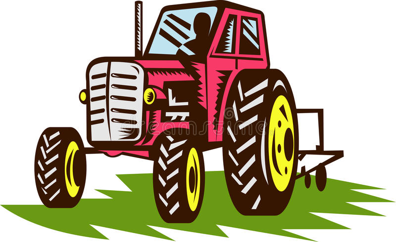 Vintage farm tractor. Illustration of a vintage tractor done in woodcut style vector illustration