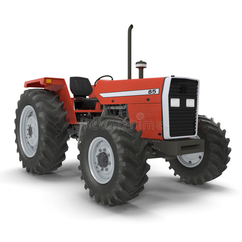 Vintage Farmall Tractor on white. 3D illustration. Vintage Farmall Tractor on white background. 3D illustration royalty free illustration