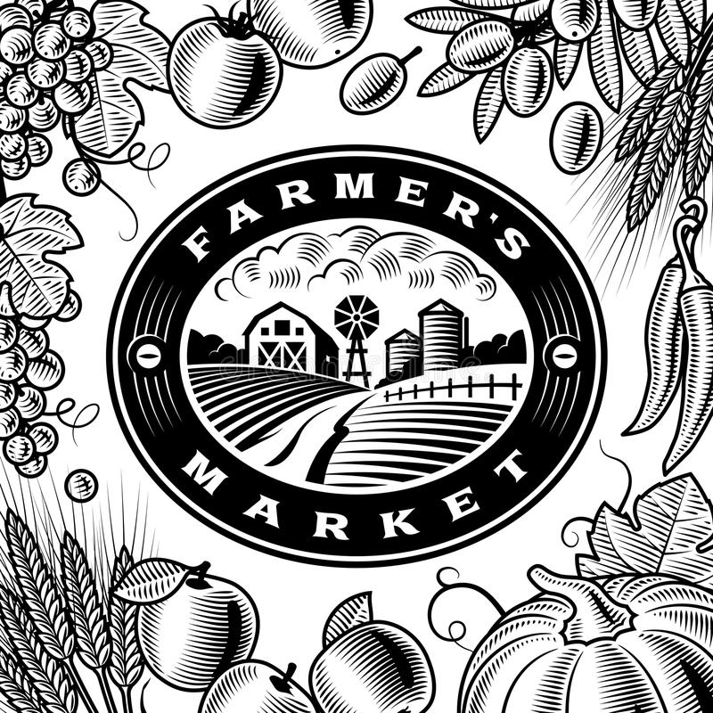 Vintage Farmers Market Label Black And White. Vintage Farmers Market label with fruits and vegetables in woodcut style. Black and white editable vector royalty free illustration