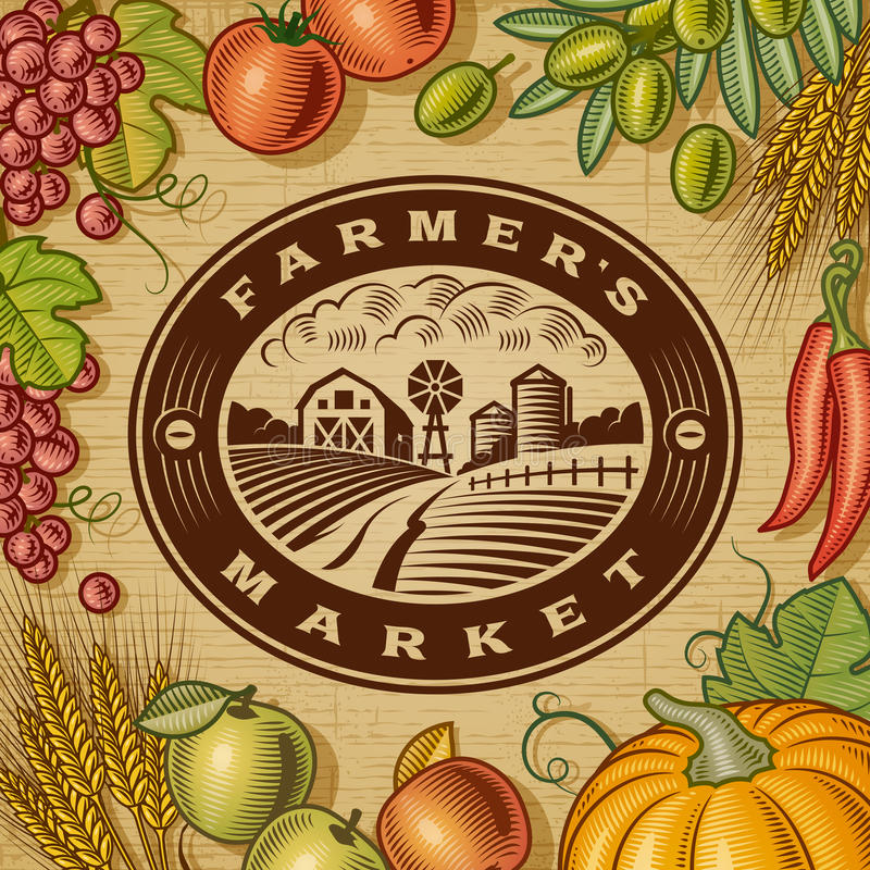 Vintage Farmers Market Label. With fruits and vegetables in woodcut style. EPS10 editable vector illustration with clipping mask and transparency stock illustration