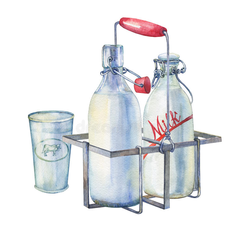 Vintage farmhouse kitchen metal holder rack with bottles of milk and glass of milk. royalty free illustration