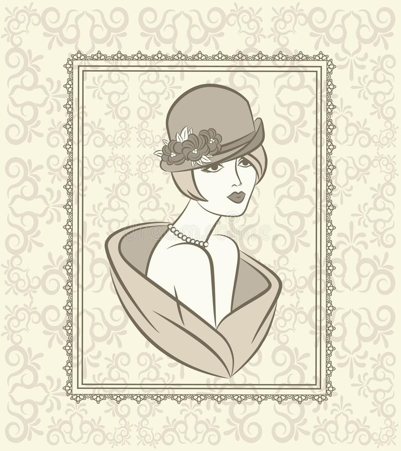 Vintage fashion girl in hat. royalty free illustration