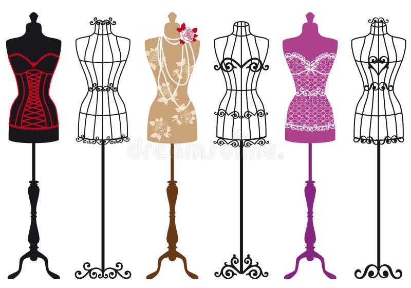 Vintage fashion mannequins, vector set