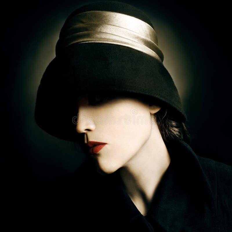 Vintage fashion woman portrait royalty free stock image