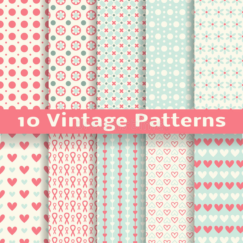 Vintage fashionable vector seamless patterns. 10 Vintage fashionable vector seamless patterns (tiling). Retro pink, white and blue colors. Endless texture can be