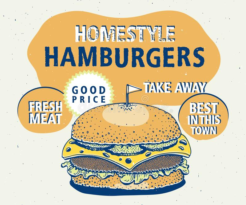 Retro fast food hamburger poster. Hand drawn food illustration. Can be use for fast food, snack and takeaway menu and vector illustration