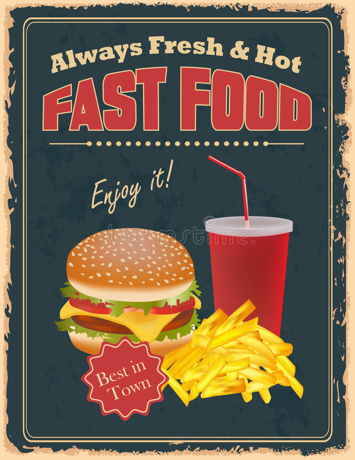 Vintage Fast Food poster. With burgers, fries and drink vector illustration