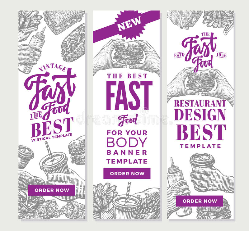 Vintage Fast Food Vertical Banners. With burgers chips ketchup and drinks in hand drawn style vector illustration royalty free illustration