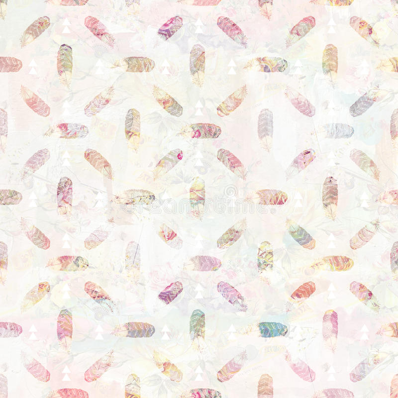 Vintage feather and arrows tribal background pattern in soft pastel colors stock illustration