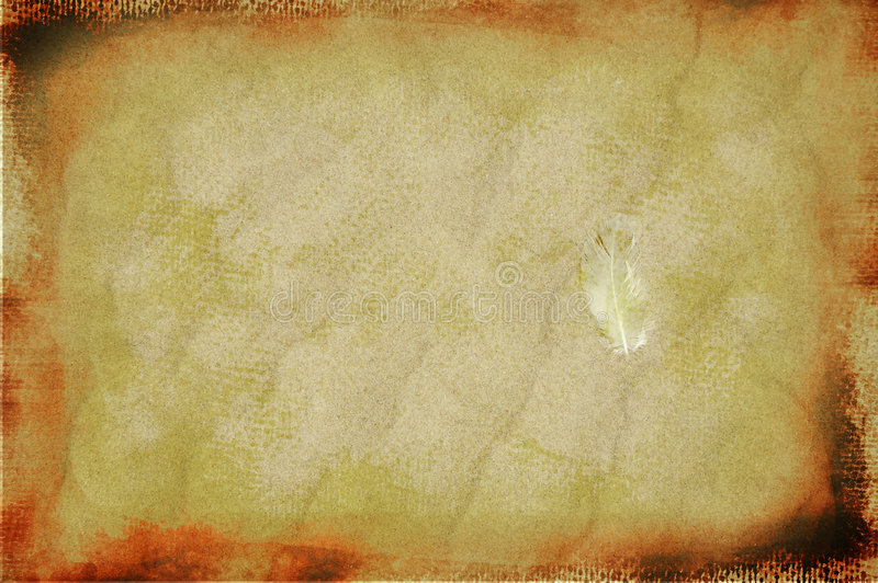 Vintage feather on grunge sand background vector illustration