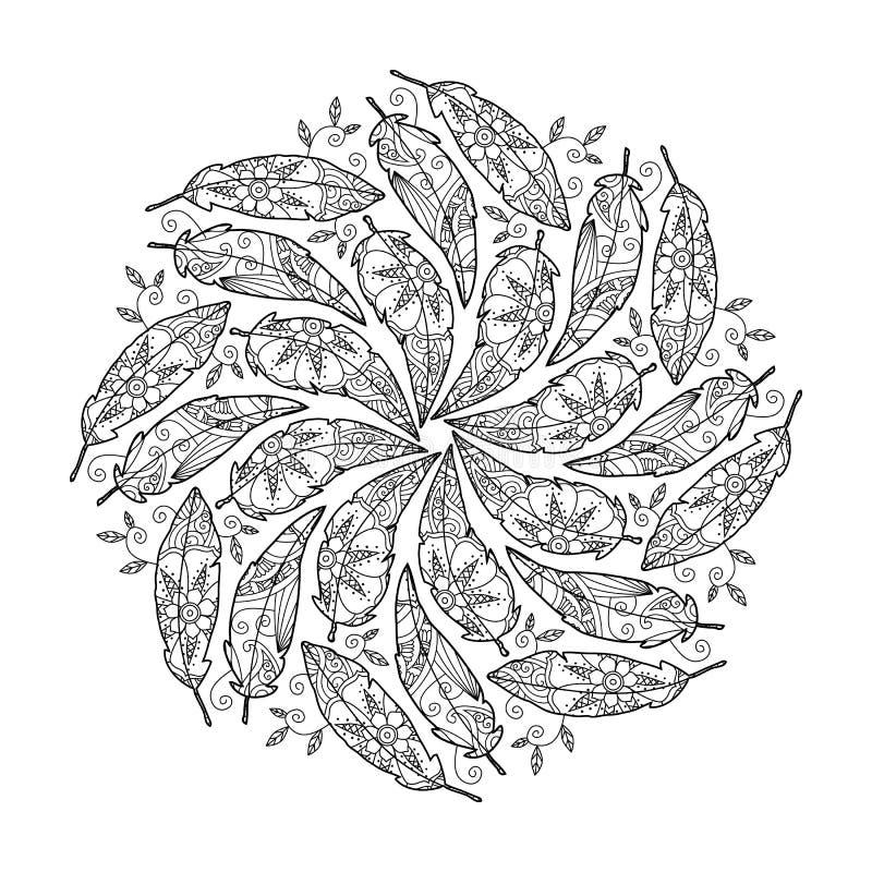 Vintage feather Mandala. royalty free illustration