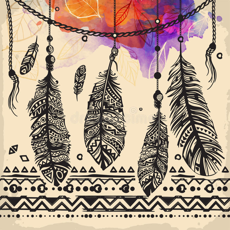 Vintage feathers ethnic pattern, tribal design, tattoo, for fabric print stock illustration