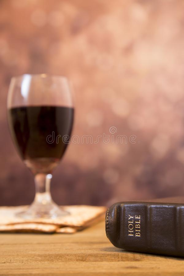 Christian`s Holy Communion. Vintage Feeling Background of the Christian`s Holy Communion or Lord`s Supper stock photography