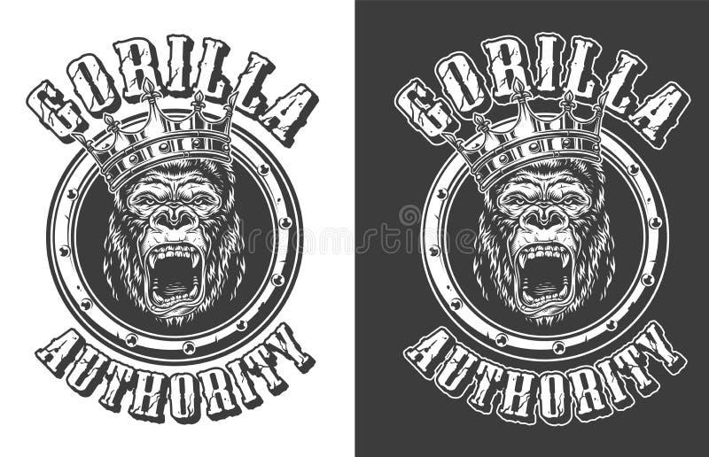 Vintage ferocious gorilla king round emblem royalty free illustration