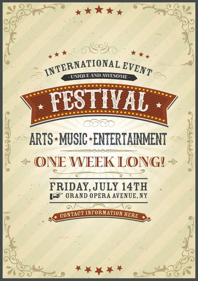 Vintage Festival Poster royalty free illustration