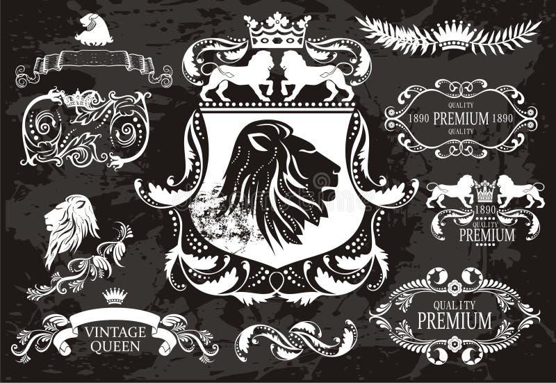 Vintage fijado con los leones stock de ilustración
