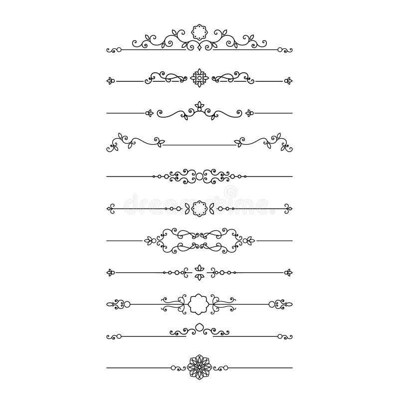 Vintage filigree dividers set isolated on white. Calligraphic design elements vector illustration