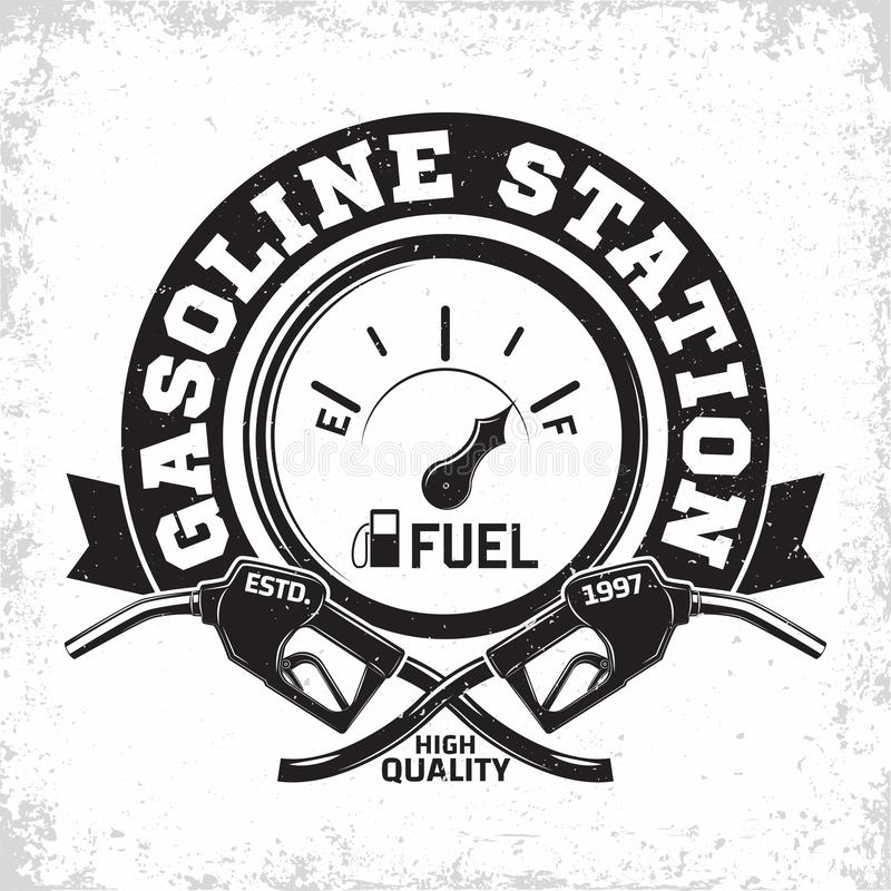 Vintage filling station emblem design. Vintage Petrol station logo design, emblem of gasoline station, Gas or diesel filling station typographyv emblem, print stock illustration