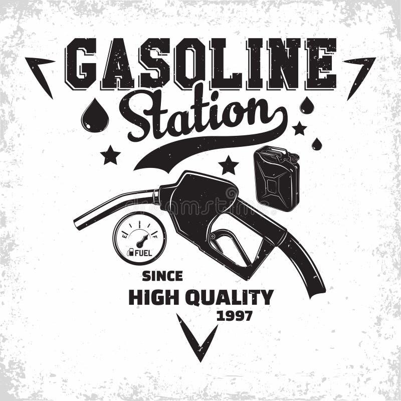 Vintage filling station emblem design vector illustration