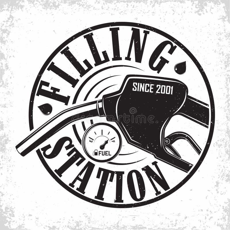 Vintage filling station emblem design stock illustration